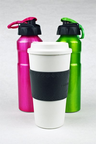 Coffee travel mug and two metal water bottles