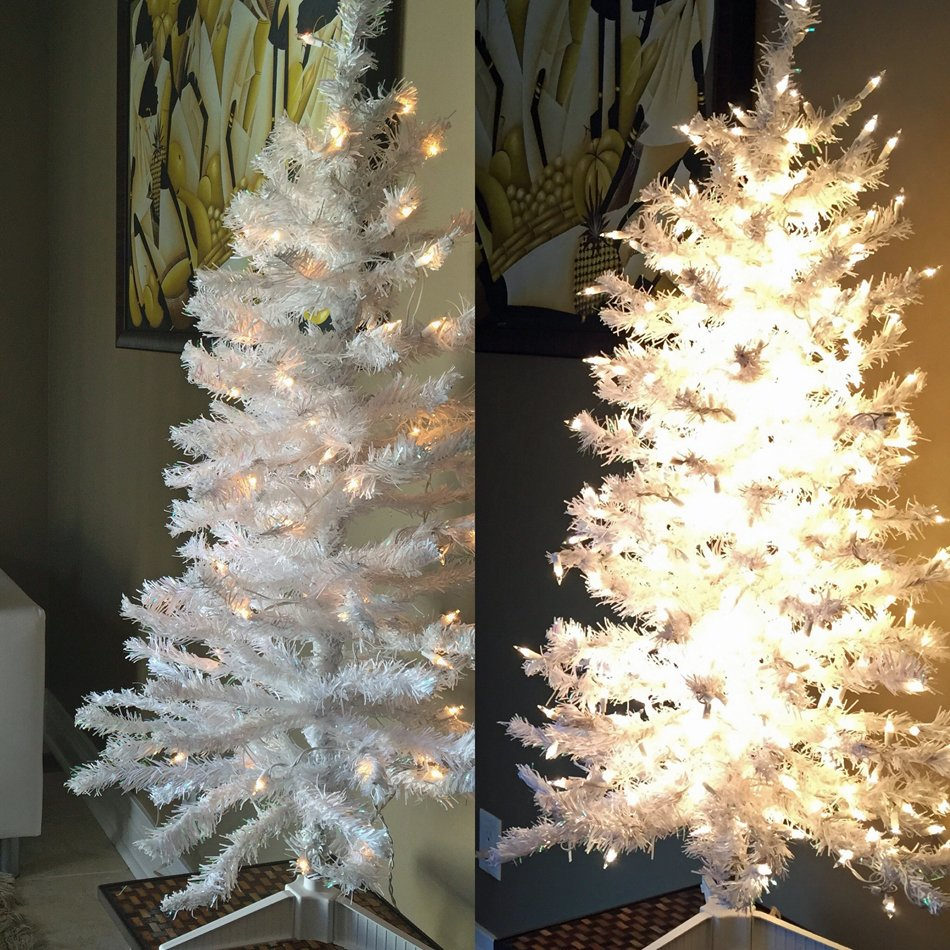 Side-by-side before and after images of a white tree with and without extra white lights