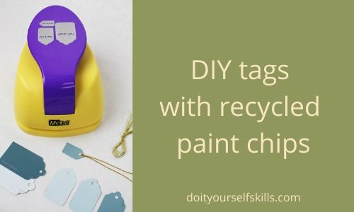DIY gift or price tags in three different sizes using recycled paint chips