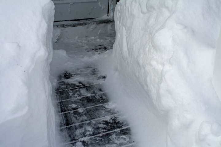 A path dug out when four feet of snow fell
