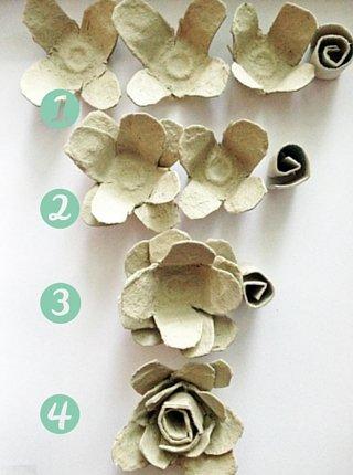 Each layer of the egg carton rose