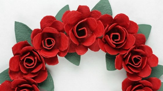 Completed egg carton rose wreath