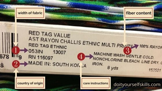 How to read the label on a bolt of fabric