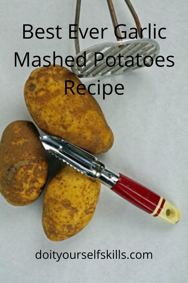 Potatoes with a vintage potato masher and vintage potato peeler
