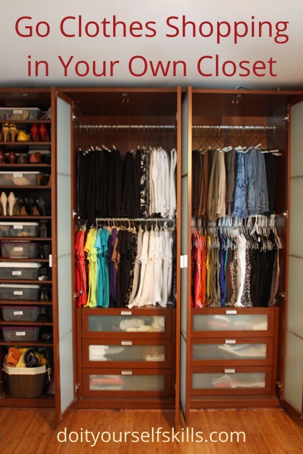 Two closets of clothing and one of shoes