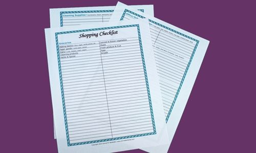 Three page shopping list template
