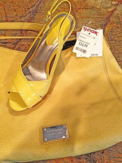 Yellow handbag and yellow patent slingback sandals