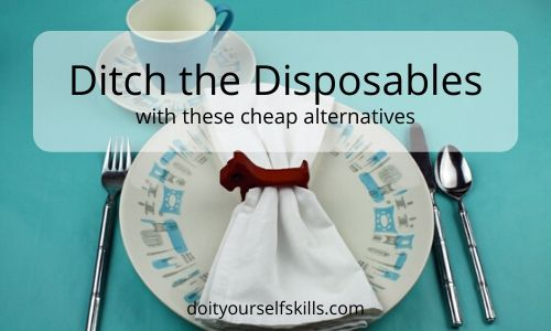 This Blue Heaven vintage plate, saucer and teacup, vintage napkin holder, cloth napkin and stainless flatware are all cheap alternatives to their disposable counterparts.