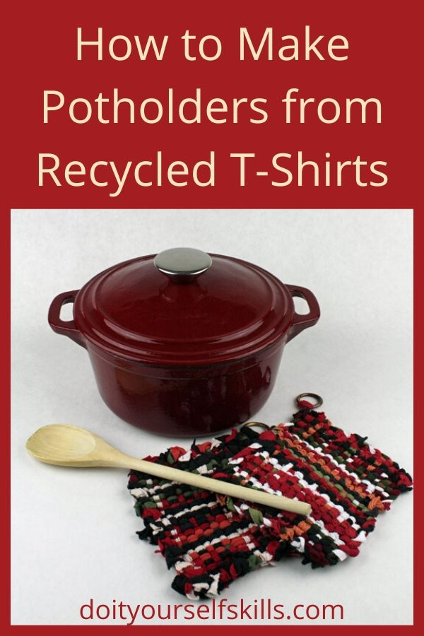 Potholders made from recycled T-shirts and a red, cast iron enameled stockpot