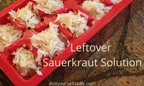 Leftover sauerkraut in a red plastic ice cube tray