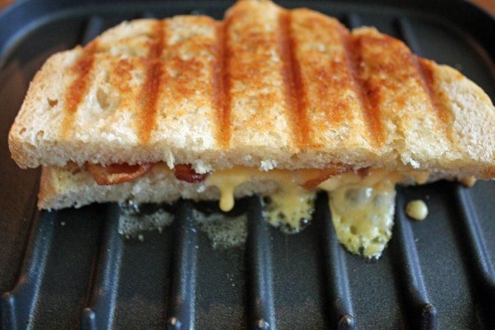 Grilled cheese sandwich made on a kitchen grill