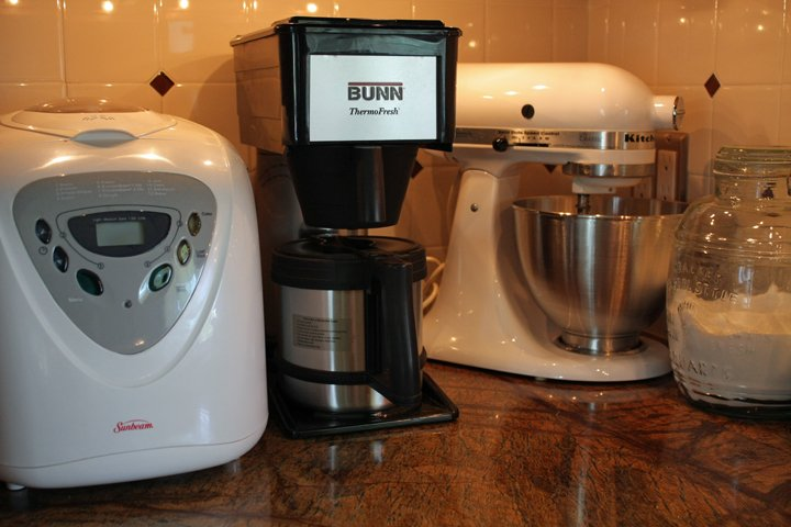 Bread machine, Bunn coffee maker and a KitchenAid stand mixer