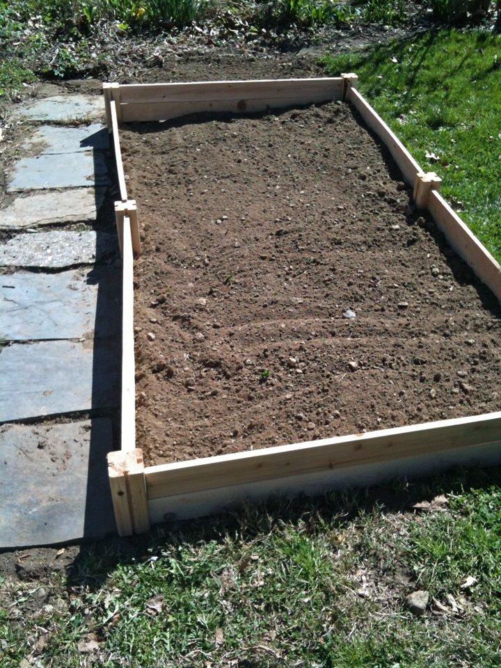 Empty raised bed in the vegetable garden