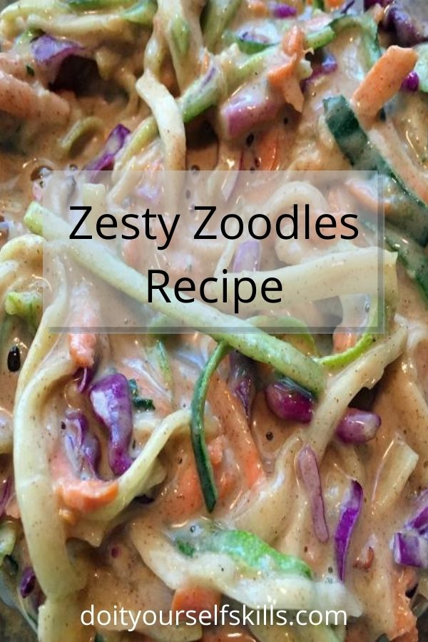 zesty zoodles - zucchini noodles - and a mildly spicy sauce make a wonderful, refreshing raw vegetable lunch